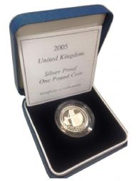 2005 Silver Proof One Pound Coin for sale